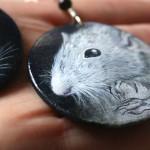 szczur, dumbo, drewno, kolczyki malowane