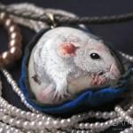 szczur ręcznie maloany, portret szczura