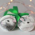 malowany szczur, biżuteria ze szczurami